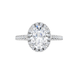 1.75CT Oval Brilliant D Color VS2 Clarity 18K White Gold Halo Diamond Engagement Ring