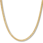 """Men's Wheat Chain Necklace 10K Yellow Gold 24"""" Length"""