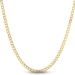 """Men's Solid Curb Chain 10K Yellow Gold 22"""""""